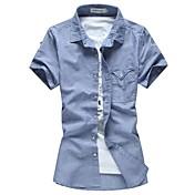 メンズラペルピュアカラーリネン通気性半袖シャツプラスサイズのカジュアルシャツ