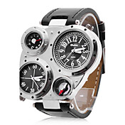 Oulm 男性 軍用腕時計 リストウォッチ 2タイムゾーン クォーツ 日本産クォーツ PU バンド ブラック