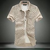 メンズ カジュアル/普段着 ワーク プラスサイズ シャツ プリント コットン 半袖