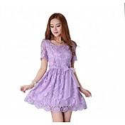 女子ラウンドボウソリッドカラーショートスリーブレースショートドレス