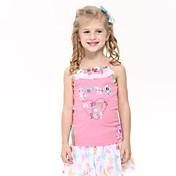 女の子の戦車愛らしい愛の刺繍夏ピンク子供タンクはランダムプリントトップス