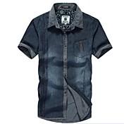 メンズファッションスリムデニムシャツ