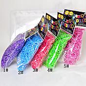 Colores del arco iris 600pcs telar 16 Sfashion banda telar (clip 1package s, colores surtidos)