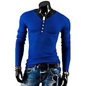 Camiseta De los hombres Un Color-Casual-Algodón-Manga Larga-Negro / Azul / Beige / Gris