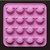 16穴豚の形のチョコレートの金型ケーキ型、シリコーン17.5×17.5×1.5センチメートル(6.9×6.9×0.6インチ)