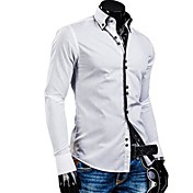 メンズ フォーマル カジュアル/普段着 ワーク シャツ ソリッド カラーブロック コットン 長袖