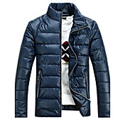 Zian®Men's Stand Collar Zipper Cardigan Keep Warm Casual Fashion Solid Color Slim Long Sleeves Short Cotton Coat