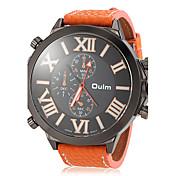 Oulm 男性 軍用腕時計 リストウォッチ クォーツ 日本産クォーツ レザー バンド ブラック オレンジ