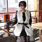 毛皮のベストアイボリーファッション因果フェイク毛皮のベスト