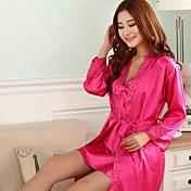 de manga corta de noche-traje de la mujer furuixiang® y sexo con pijamas de tela de seda imitado