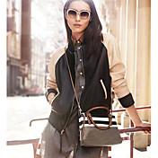 ラ·モードの女性の長い袖の野球革のコート