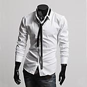 男性用 プレイン オフィス / フォーマル シャツ,長袖 コットン混 ブラック / ホワイト / グレー
