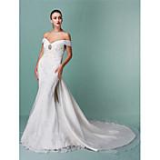 Lanting novia trompeta / sirena petite / tallas grandes de la boda del tren del vestido-capilla fuera del hombro organza