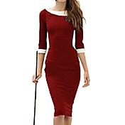 女性のラウンドネックのボディコンソリッドカラーのドレスをメロス