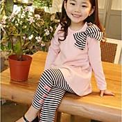女の子の ストライプ コットン混,アンサンブル 冬 / 春 / 秋 ブルー / ピンク