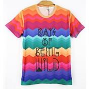 Camiseta De los hombres Estampado-Casual-Mezcla de Algodón-Manga Corta-Multicolor