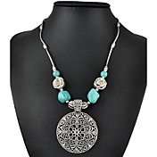 la plata de la moda vintage plateado ahueca tallar collar de flores de color turquesa