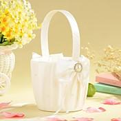 cesta de flores de raso marfil con arco y de imitación peal florista cesta