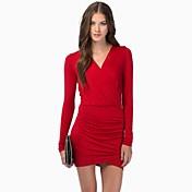 女性のVネックセクシーなボディコンパッケージヒップドレス(もっと色)