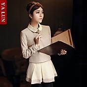 Mujer Primavera / Otoño Camiseta Trajes Un Color Manga Larga Algodón Marrón Medio