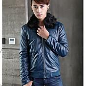 moda chaqueta de cuero de la PU coreana de los hombres
