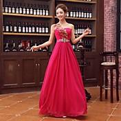 Formal Evening Dress A-line One Shoulder Floor-length Satin with Crystal Detailing / Flower(s) / Sash / Ribbon / Sequins