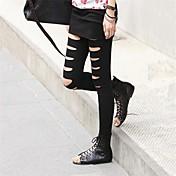 Mujer Algodón Mezclado Un Color Rasgado Legging,TALLA-ÚNICA es para S a M, por favor, consulte la Tabla de Tallas de debajo.