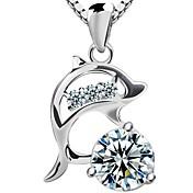 925 collar de plata de delfines
