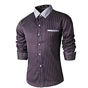 男性用 ストライプ カジュアル シャツ,長袖 コットン混