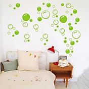 wall stickers Vægoverføringsbilleder, søde farverige pvc flytbare skønhed grøn boble væg klistermærker.