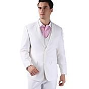 スーツ テイラーフィット スリムノッチドラペル シングルブレスト 二つボタン ソリッド 3点 ホワイト ノータック(フラットフロント) ノータック(フラットフロント)