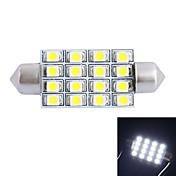 gc® 42 millimetri 4w 200lm 6000k 16x3528 bianco smd per lampada di lettura dell'automobile / targa / porta (DC12V)