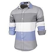 男性用 ストライプ カジュアル シャツ,長袖 コットン ホワイト