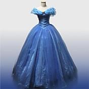 コスプレ衣装 プリンセス Cinderella 童話 映画コスプレ ブルー ドレス ペチコート ハロウィーン クリスマス 新年 女性用 サテン オーガンザ