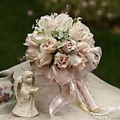 16cm de diámetro boda novia ramo de novia con flores, colth seda simulación capullo de rosa