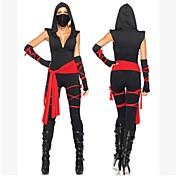 Disfraces Zentai Ninja Cosplay de películas  Negro Top Pantalones Cinturón Máscara Vendaje Halloween Navidad Año Nuevo MujerAlgodón