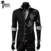 MEN-シャツ(ブラック / パープル / レッド / ホワイト,コットン混) -カジュアル / プラスサイズ-プリント-長袖