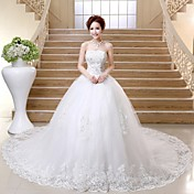 Vestido de bola sin tirantes catedral tren vestido de boda de tul con rebordear por lan ting bride®