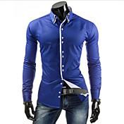 男性用 プレイン カジュアル シャツ,長袖 コットン混 ブラック / ブルー / ホワイト
