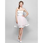 Vestido de bola vestido de la dama de honor del satén del estiramiento de Tulle de la longitud de la rodilla con el arco / la cinta (s)