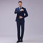 Obleky Slim Úzké otevřené Jednořadové se dvěma knoflíky Polyester Jednobarevné 2 ks Tmavě modrá Bílá