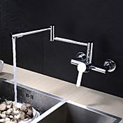 現代風 ポットフィラー 壁式 回転可 with  セラミックバルブ シングルハンドル二つの穴 for  クロム , 水栓