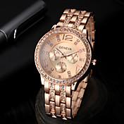 Reloj Casual Simulado Diamante Reloj Banda Plata Dorado Oro Rosa