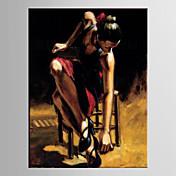 Pintada a mano PersonasModern / Estilo europeo Un Panel Lienzos Pintura al óleo pintada a colgar For Decoración hogareña