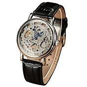 Hombre Reloj de Vestir El reloj mecánico Cuerda Manual Resistente al Agua Piel Banda De Lujo Negro Marrón Dorado Plata