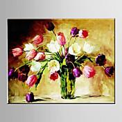 手描きの 風景 / 花柄/植物のModern / 欧風 1枚 キャンバス ハング塗装油絵 For ホームデコレーション