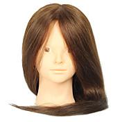 18 tommer blandet frisørsalon kvindelige mannequin hoved ingen make-up farve brun