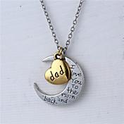 父の日のギフトの亜鉛合金の心と月の父は私が月とバックのネックレスにあなたを愛し