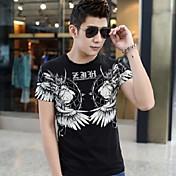 男性用 プリント カジュアル Tシャツ,半袖 コットン,ブラック / ブルー / レッド / ホワイト / グレー