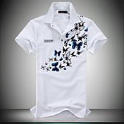 男性用 半袖 ポロシャツ,コットン / ポリエステル カジュアル / プラスサイズ プリント